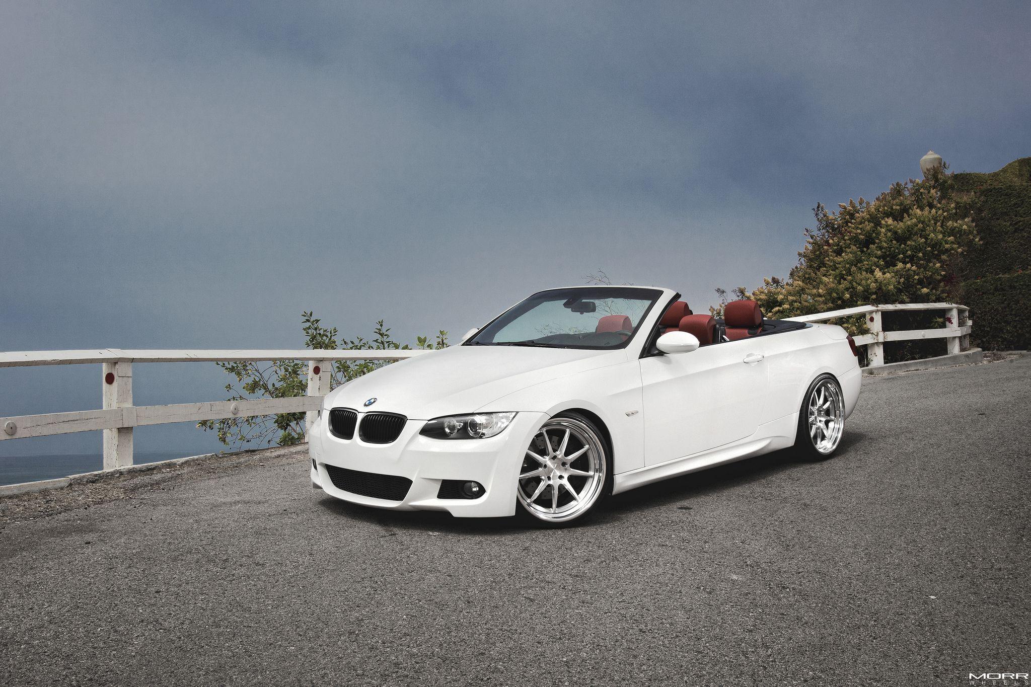 alpine white bmw 335i convertible on morr wheels. Black Bedroom Furniture Sets. Home Design Ideas