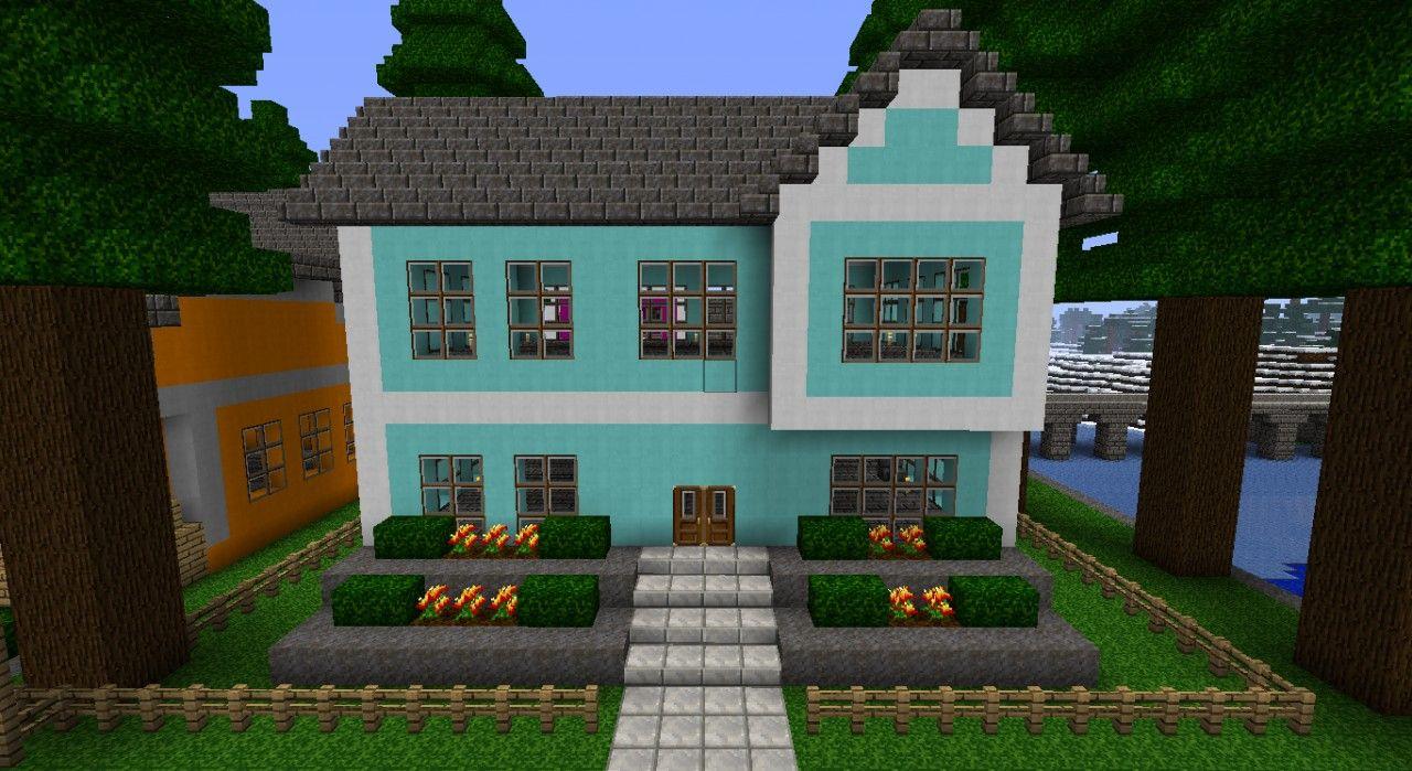 Cyan House Minecraft Project MINECRAFT Pinterest Minecraft