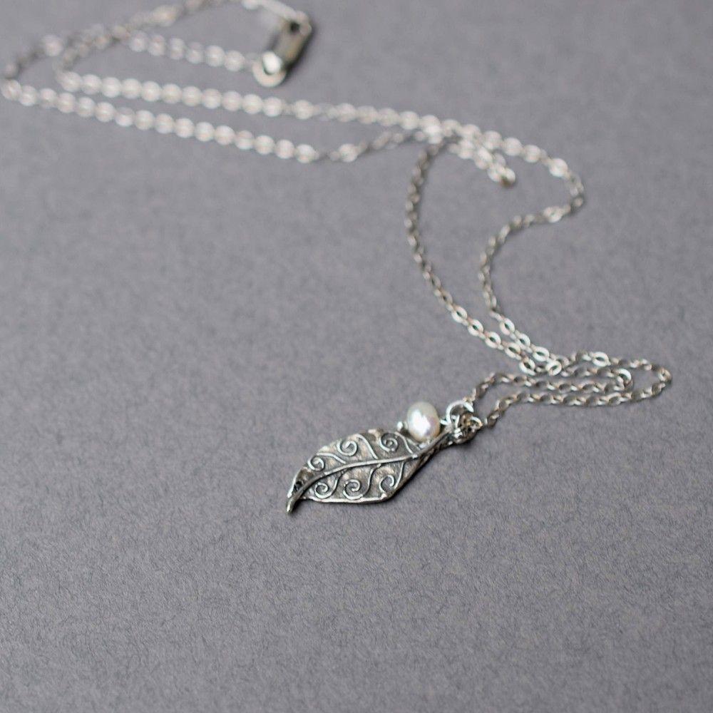 Oxidized Sterling Silver Leaf Pendant