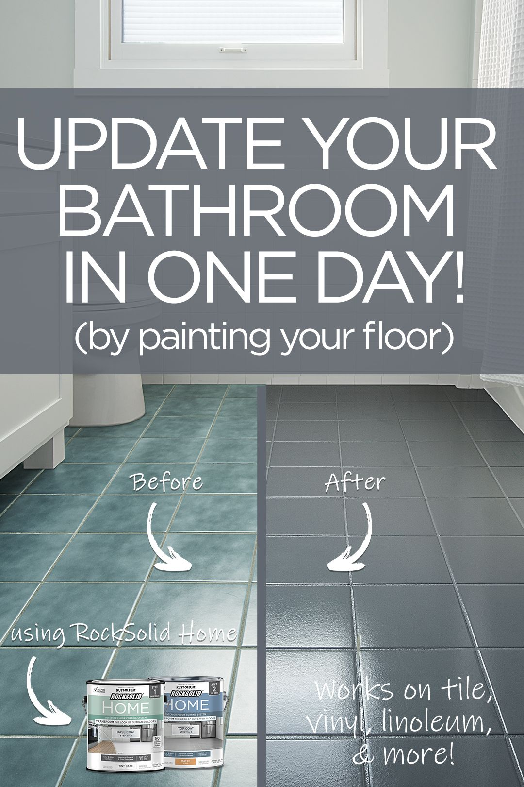 transform your bathroom in a day by painting your floor  give your bathroom floor new life with