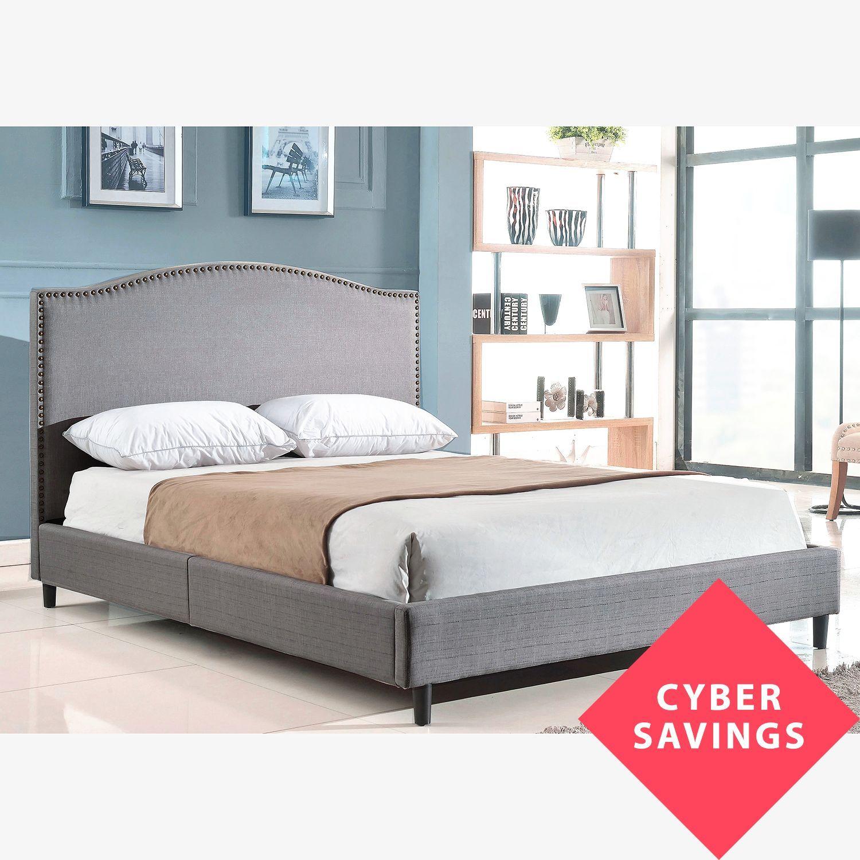 Parker Grey Linen Upholstered Queen Platform Bed Sam S Club