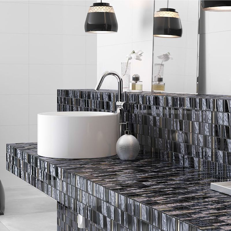 White Tones And Black Accents On This Diagonla Cut Gl Mosaic Tile Pick Up Light