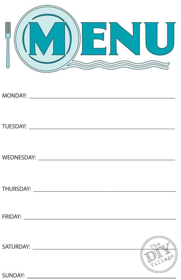 Free Printable Weekly Menu Planner  Weekly Menu Planners Menu