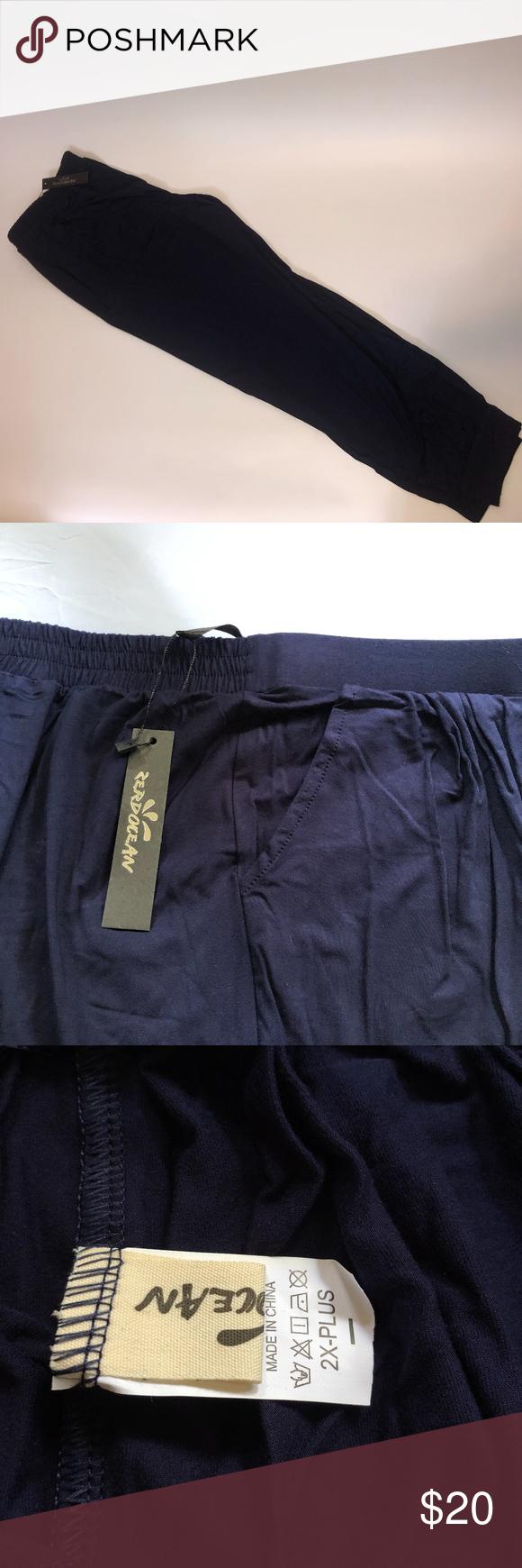Zendocean Navy Blue Pull-On Stretch Pants Sz 2X Zendocean Womens Navy Blue Pull-On Casual Pants Plus Size 2X  Length - 37.5