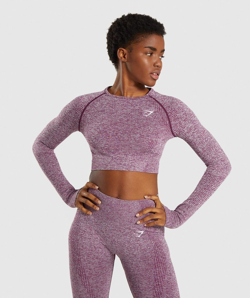 86db9ce909ccbe Gymshark Vital Seamless Long Sleeve Crop Top - Purple in 2019 | Tone ...