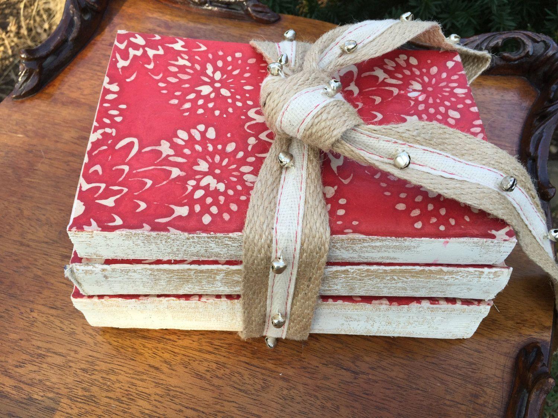 Red Book Decor, Christmas Decor, Book Bundle, Vintage Books, Altered ...