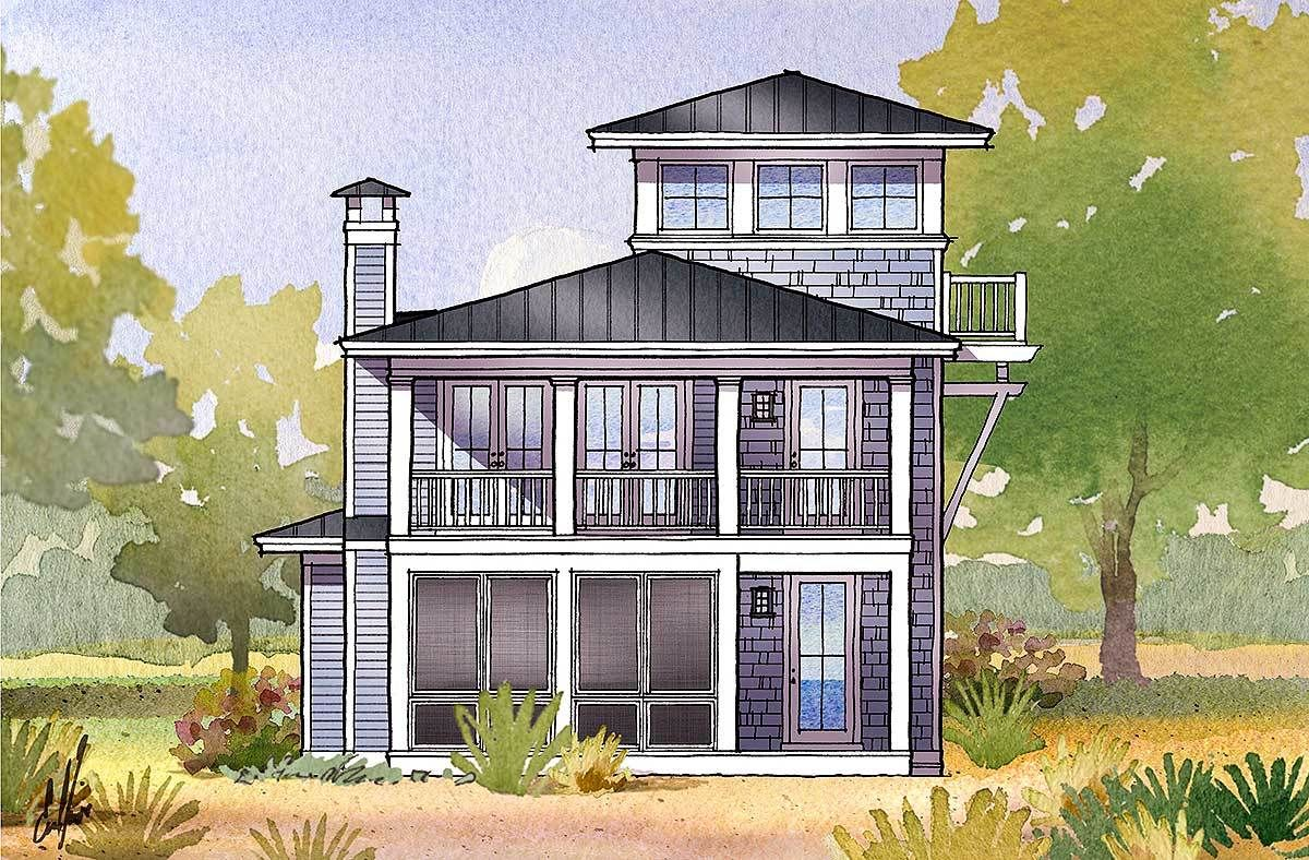 beach beauty with viewing tower 970046vc architectural designs house plans - Beach House Plans With Tower
