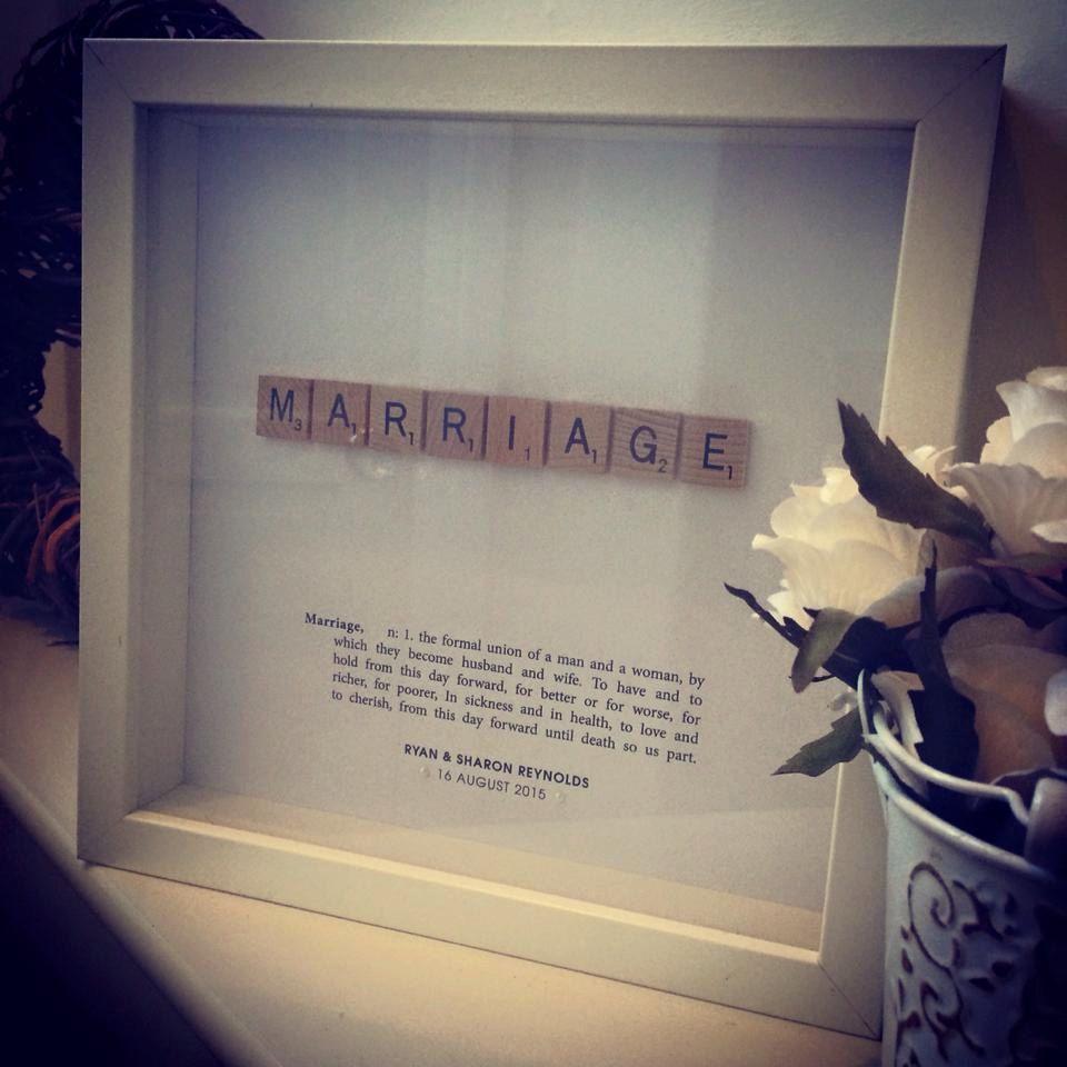 MARRIAGE Scrabble Wedding Gift Art Personalised Frame By ArtsItsyBitsy On Etsy