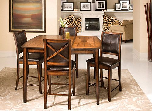 Denver 5-pc. Counter-Height Dining Set | Elegant dining, Red oak ...