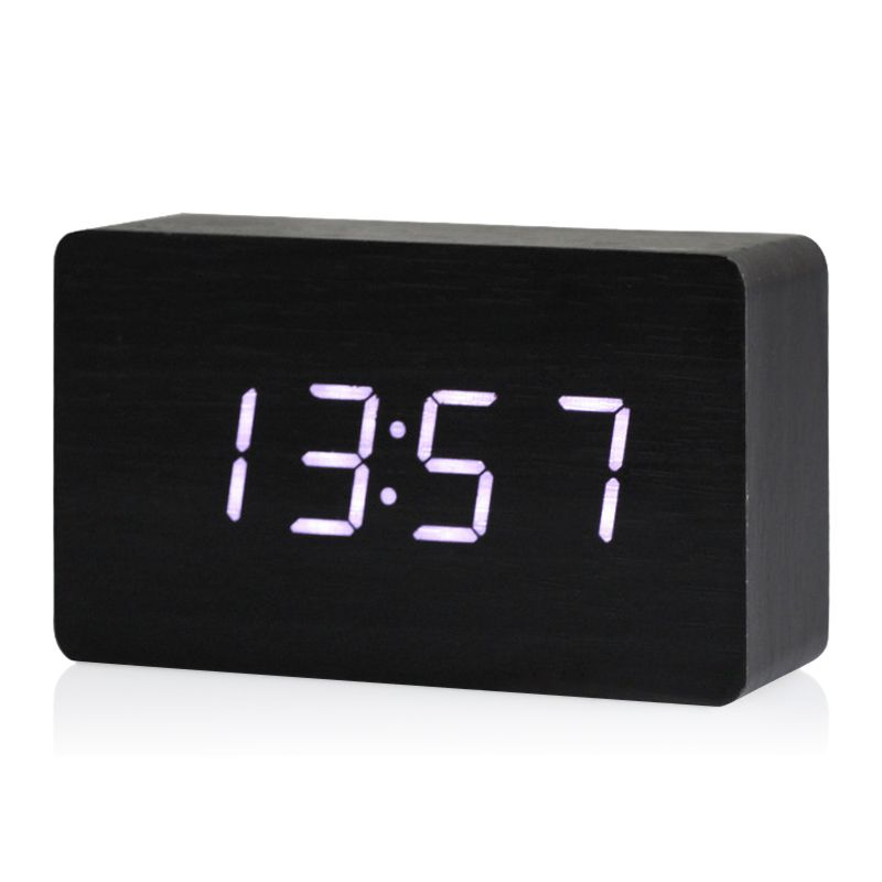 Wooden Led Digital Clock Alarm Clock Time Thermometer Calendar Usb Aaa Black And White Alarm Clock Clock Digital Clocks