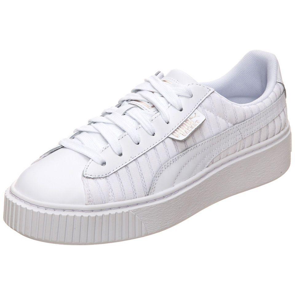 Puma Damen Basket Platform Metallic Sneaker, Weiß (White-Silver), 42 EU