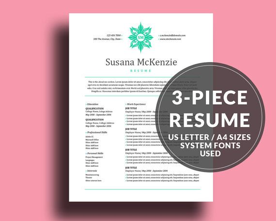 Resume Template   CV Template, Instant Download, Susana McKenzie - resume references page