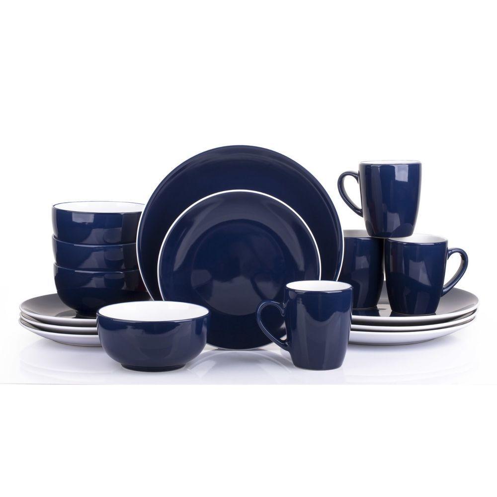 16 Pc Blue Dinner Set Serving Plates Dishes Bowls Coffee Mugs Kitchen Dinnerware  sc 1 st  Pinterest & 16 Pc Blue Dinner Set Serving Plates Dishes Bowls Coffee Mugs ...
