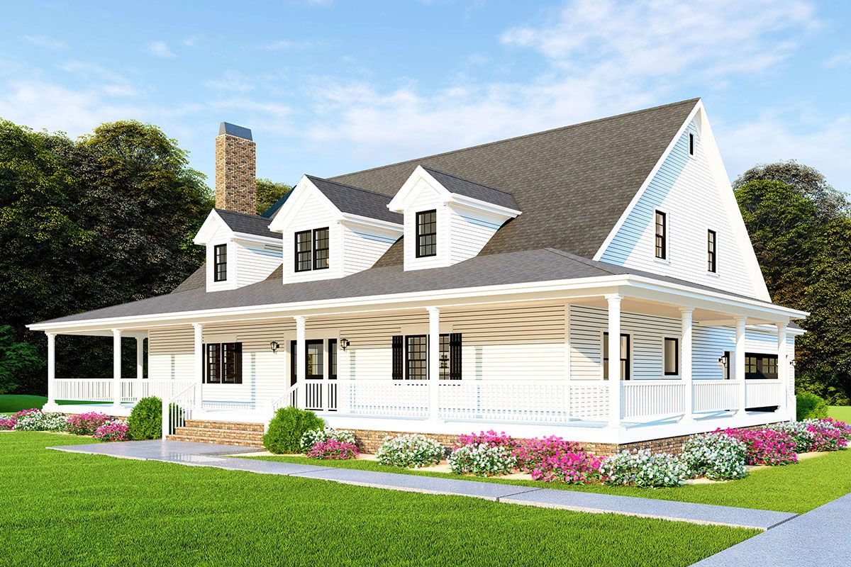 Plan 70610mk 3 Bed Country Farmhouse Plan With Wraparound Porch House With Porch Farmhouse Plans Farmhouse House