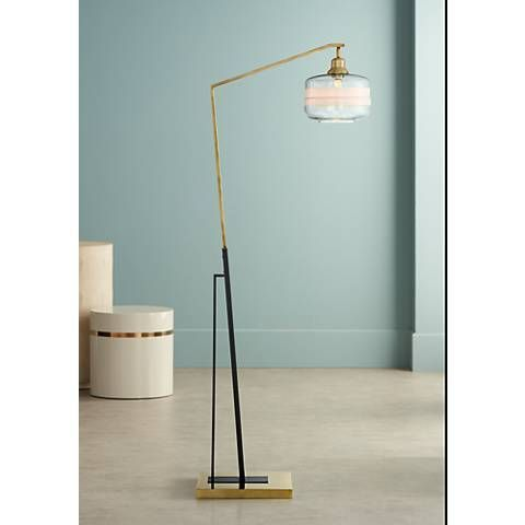 Kasmir chairside arc floor lamp antique brass and black 33d17 lamps plus illuminate