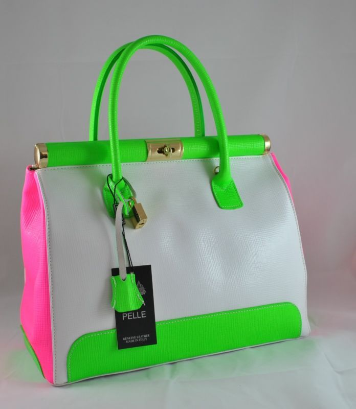 GENUINE ITALIAN Leather Satchel Handbag White-Green-Pink | Leather ...