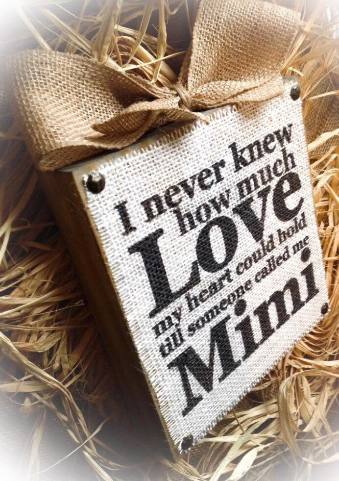 Mimi Sign , Mimi Gift , Love Mimi,Burlap Wood Block , Love Nana , Gigi Meme Mema Oma Yaya Mother's Day,Grandparents day,Birth Announcement #grandparentsdaycrafts