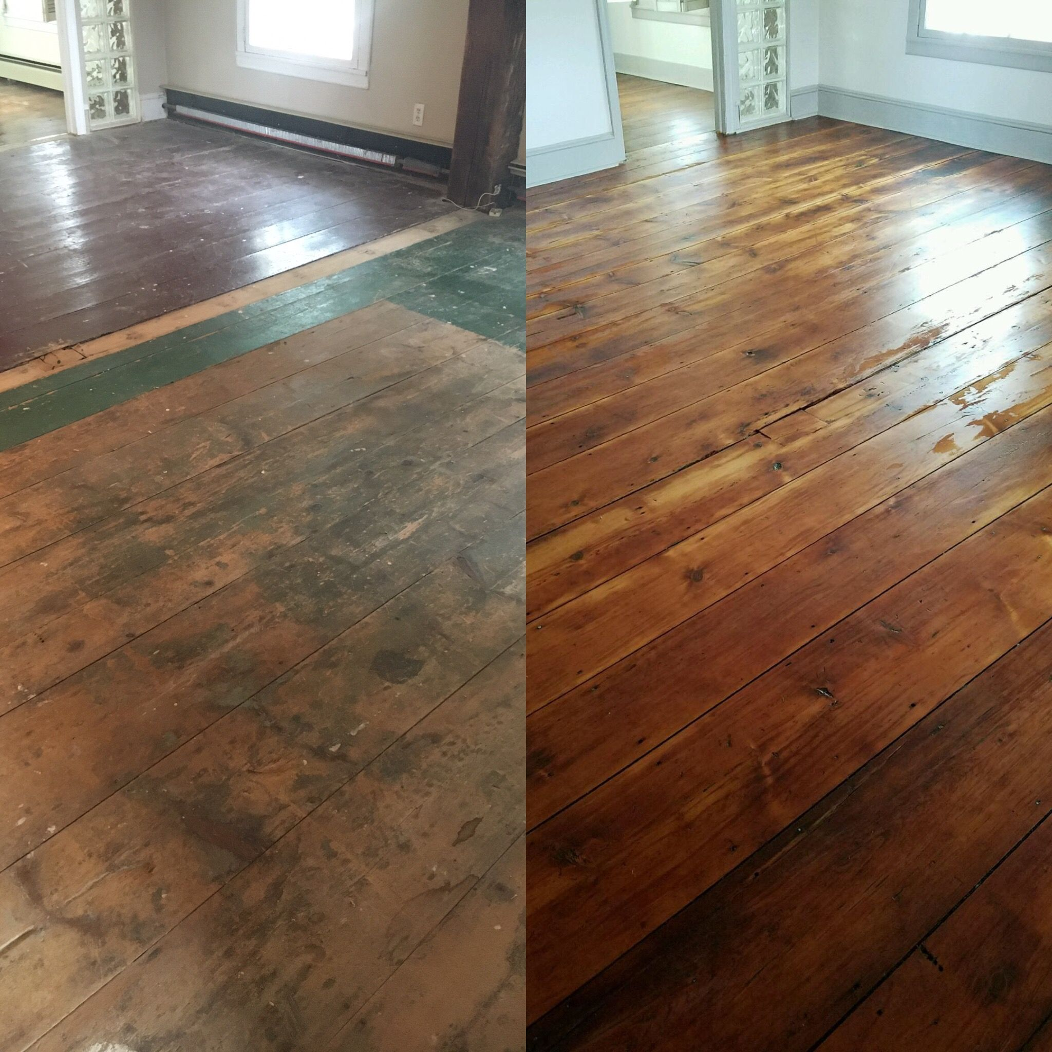 Original Wood Floors, Pumpkin Pine Floors, Circa 1840, Before And After  Refinishing Old Floors