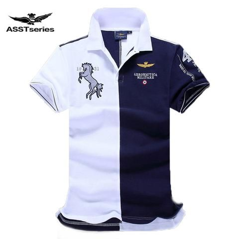 0cf8a5804d4 Embroidered Horse Logo Aeronautica Military Men Polo Shirts Air Force One  short sleeve polos male top