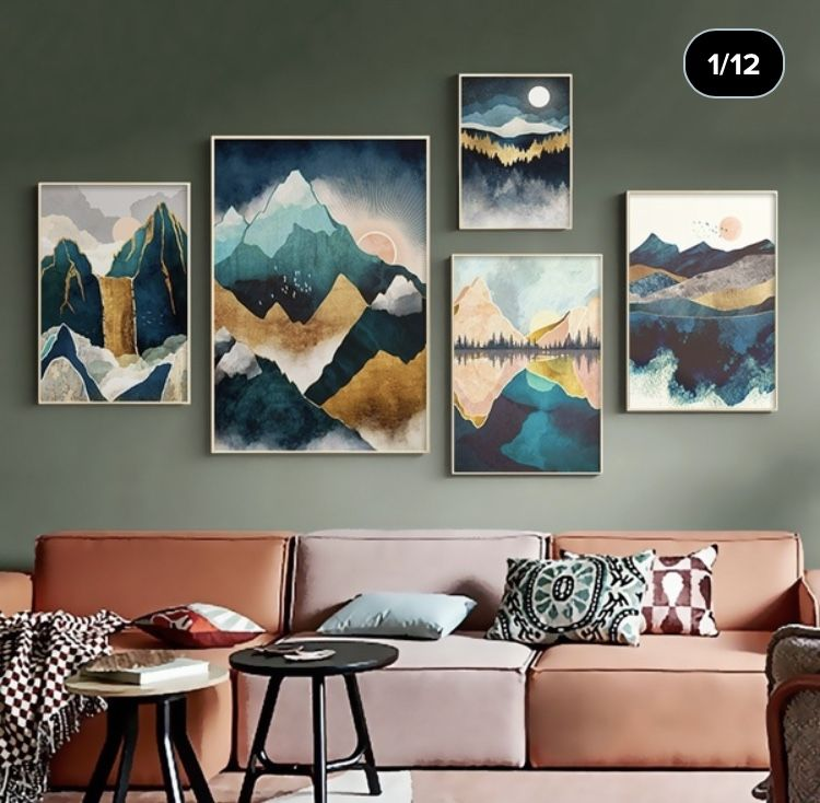 Nordic Abstract Landscape Geometric Mountain Wall Art Canvas Painting Forest Sunrise Art Poster Print Wall Picture For Living Room Wish Wall Canvas Painting Wall Art Canvas Painting Canvas Wall Art