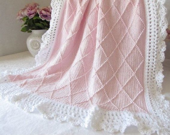 175fd0092799 Knitting pattern for Paris Baby Blanket with a diamond pattern and ...
