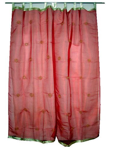 2 Red Organza Sheer Curtain Floral Mirror Embroidered Curtains Drape Panel 92 Ebay 52 00 With Images Curtains Drapes Curtains Sheer Curtain