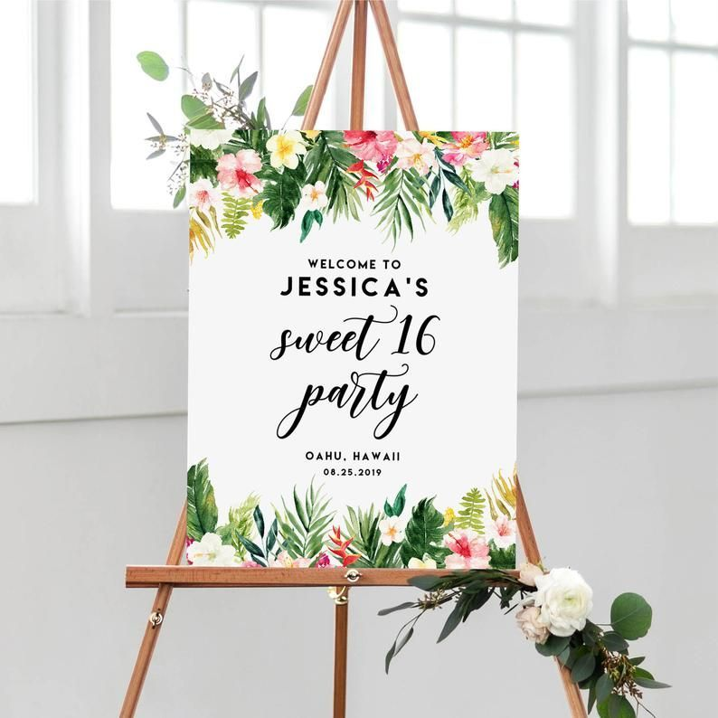 Editable Tropical Sweet Sixteen Welcome Sign Template - Printable Watercolor Tropical Flowers and Leaves Summer Sweet 16 Party Poster #010 #sweetsixteen Editable Tropical Sweet Sixteen Welcome Sign Template | Etsy
