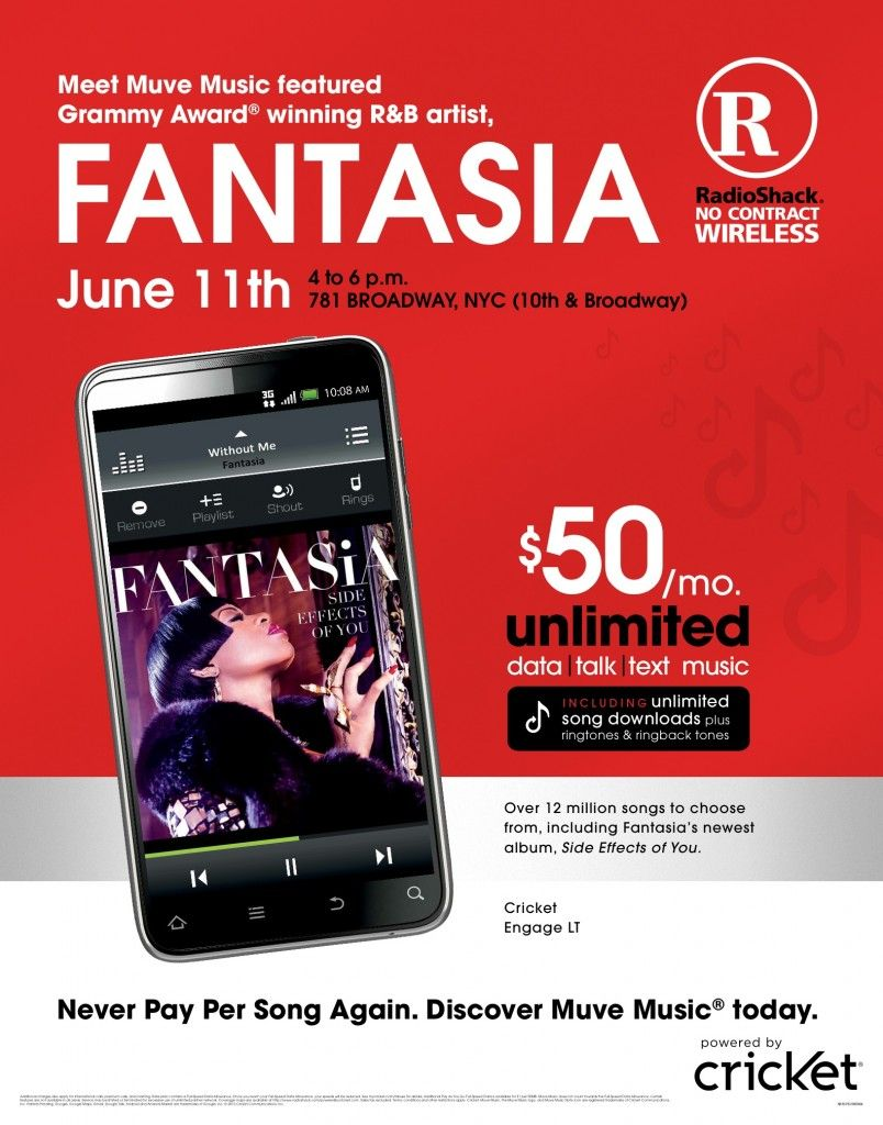 Fantasia Partners With Radio Shack Cricket Wireless For Muve Music Muvefantasia Cricket Wireless Fantasia Music