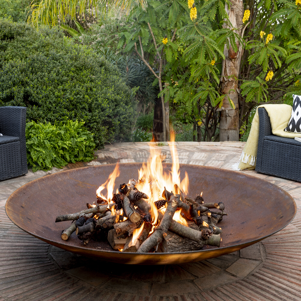 150cm Corten Steel Extra Large Fire Pit And Water Bowl Large