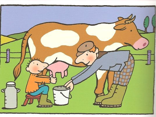 Jules op de boerderij, koe melken