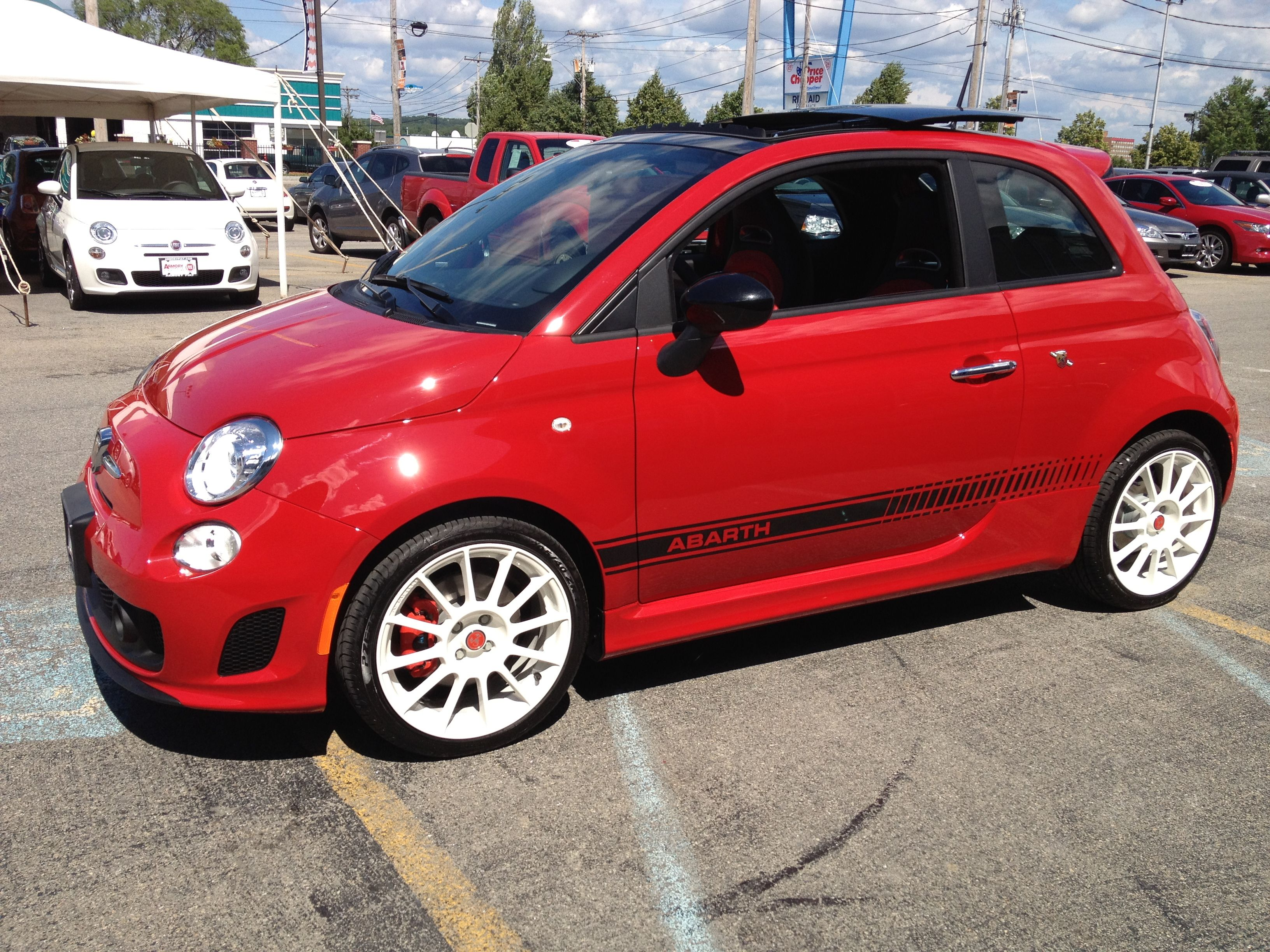 Fiat Abarth Red On White Rims With Images Fiat Abarth White