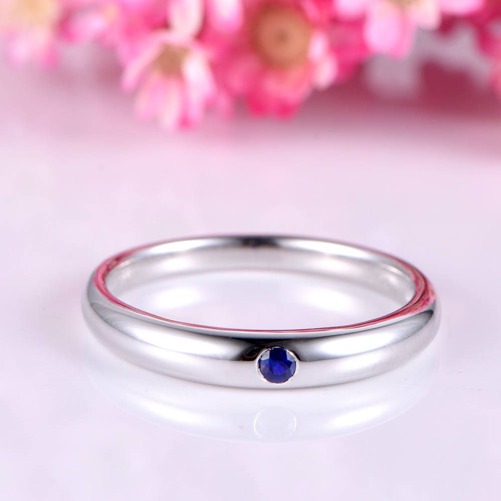 Men ring sapphire engagement ring solid 14k white plain gold band ...