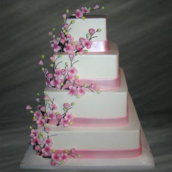 Pink Cherry Blossoms Spring Wedding Cake Cherry Blossom Wedding Cake Square Wedding Cakes Simple Wedding Cake
