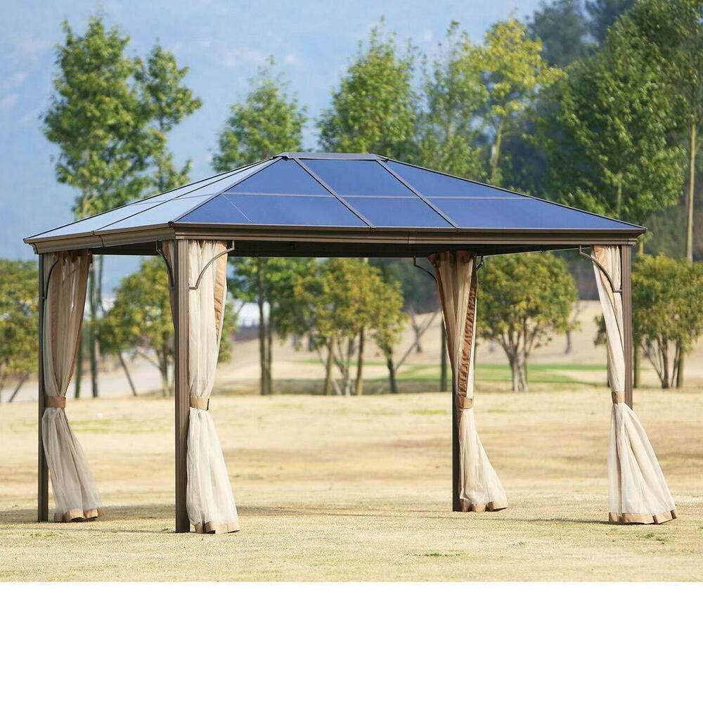 Outdoor Patio Garden Gazebo 12 X 10 Ft Beige Porch Canopy Permanent Pvc Hardtop Suncrown In 2020 Garden Gazebo Gazebo Patio Garden