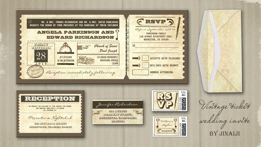Vintage Wedding Tickets Invitations Retro Sophisticated Design