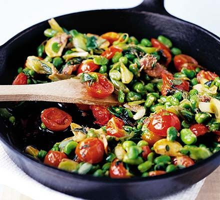 Broad Beans With Tomatoes Anchovies Recipe Broad Bean Recipes Bean Recipes Anchovy Recipes