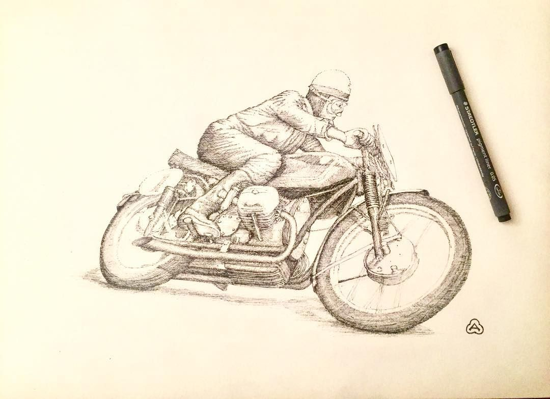A man and his airhead. This guy was the first foreigner to win the Senior Isle of Man TT in '39. Two weeks later he won the Dutch TT and then the Belgian TT. Later the same year in the Swedish Grand Prix, Georg Meier crashed and broke his back. After the war Germany was excluded from motor sport competition until '51. On the home front between '47 - '53, Meier won the German 500 cc championship on a modified pre-war supercharged BMW motorcycle for six of the seven years. A sketch I drew from…