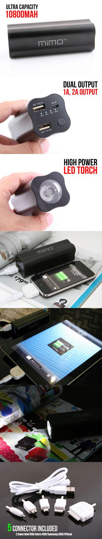 MiMO 10800mAh Power Bank  http://www.usbgeek.com/products/mimo-10800mah-power-bank
