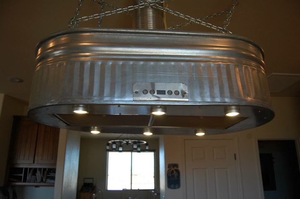 Custom Made Vent Hood From 2 Water Troughs Brewery Design Outdoor Kitchen Galvanized Tub