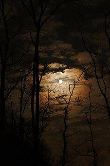 Vollmond Dunkel Gruselig Himmel Wolken Mon