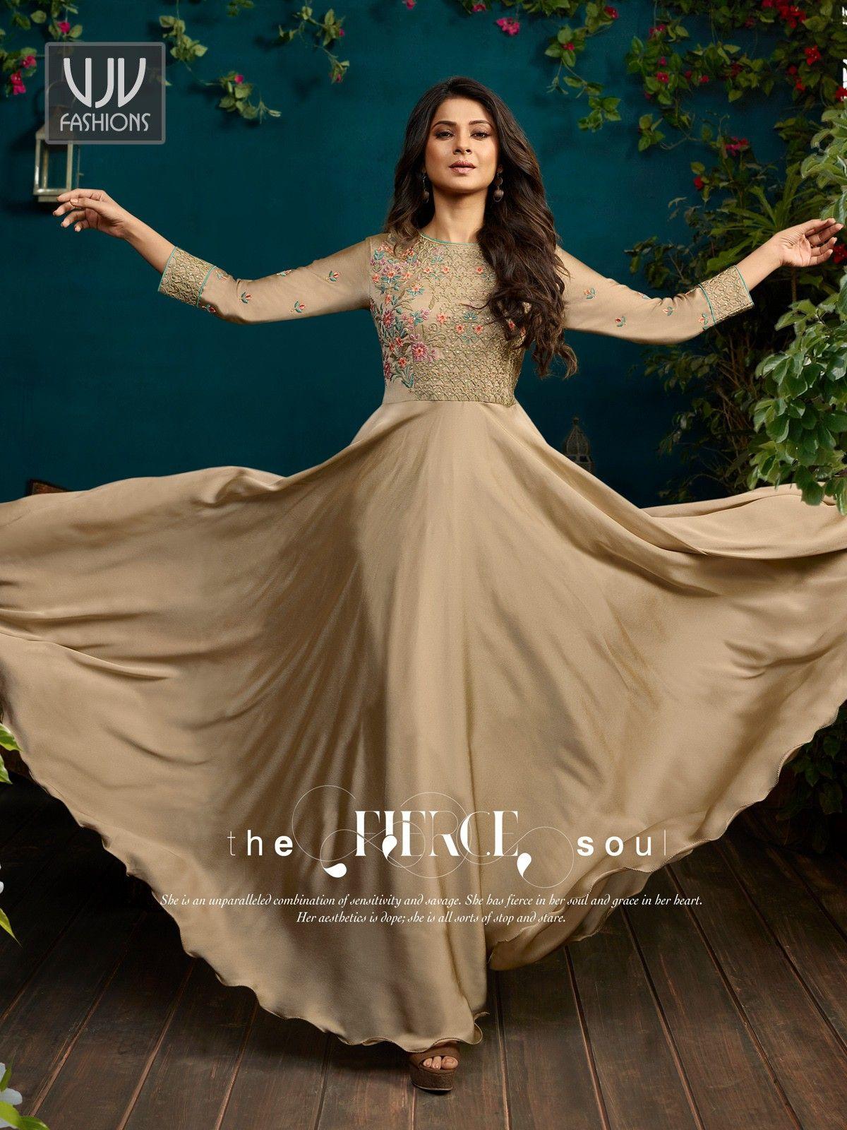 5257afe0fb3d39 Jennifer Winget Beige Georgette Designer Anarkali Suit