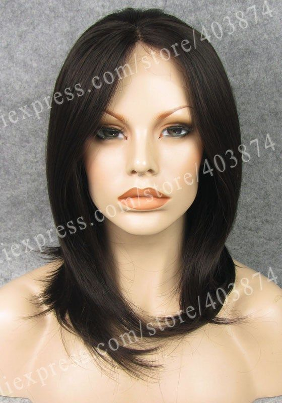 N1-26#  Natural Black Mixed Brown Color Silky Straight Synthetic Lace Front Wig for Daily Use 14 inch