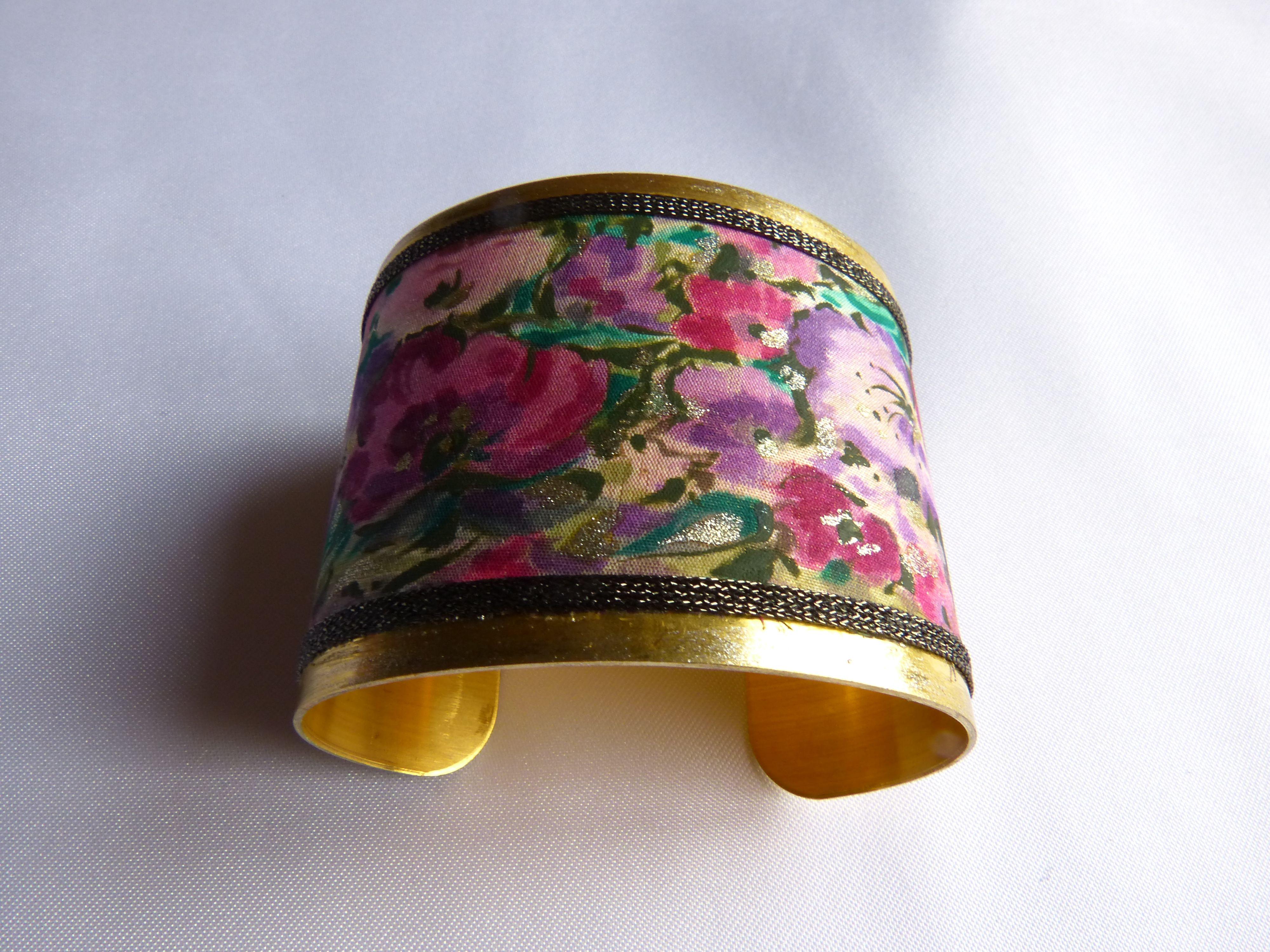 Bracelet manchette Soie peint main