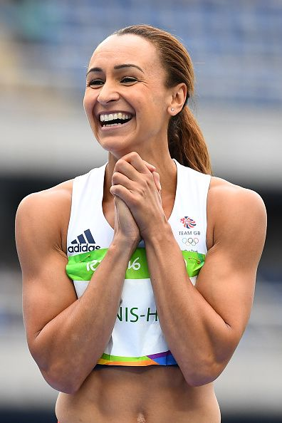 #RIO2016 Britain's Jessica Ennis-Hill celebrates in the Women's Heptathlon High Jump during the athletics event at the Rio 2016 Olympic Games at the Olympic...