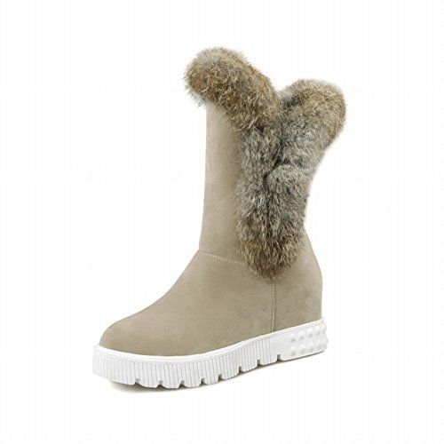 Charm Foot Fashion Fur Womens Platform Hidden Heel Mid Calf Snow Boots 95 Beige ** Continue to the product at the image link.