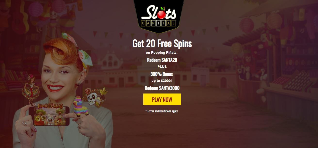 Slots Capital casino sign-up bonus offers. Limited time Xmas offer
