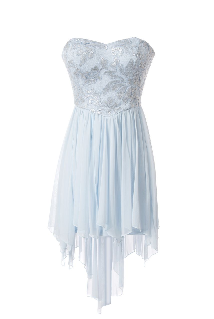 Teeze Me | Ice Blue and Silver Strapless Sequin Top High ...
