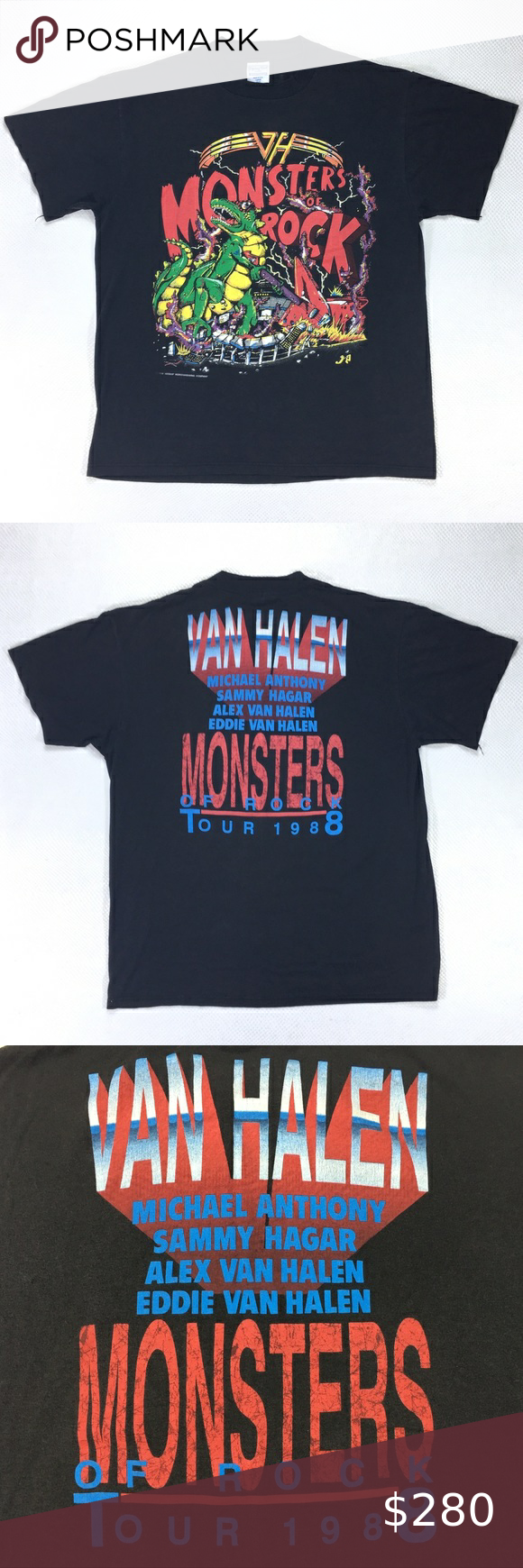 Predownload: Rare 1988 Van Halen Monsters Of Rock Tour T Shirt Tour T Shirts Vintage Rock Tees 80s Band Shirts [ 1740 x 580 Pixel ]