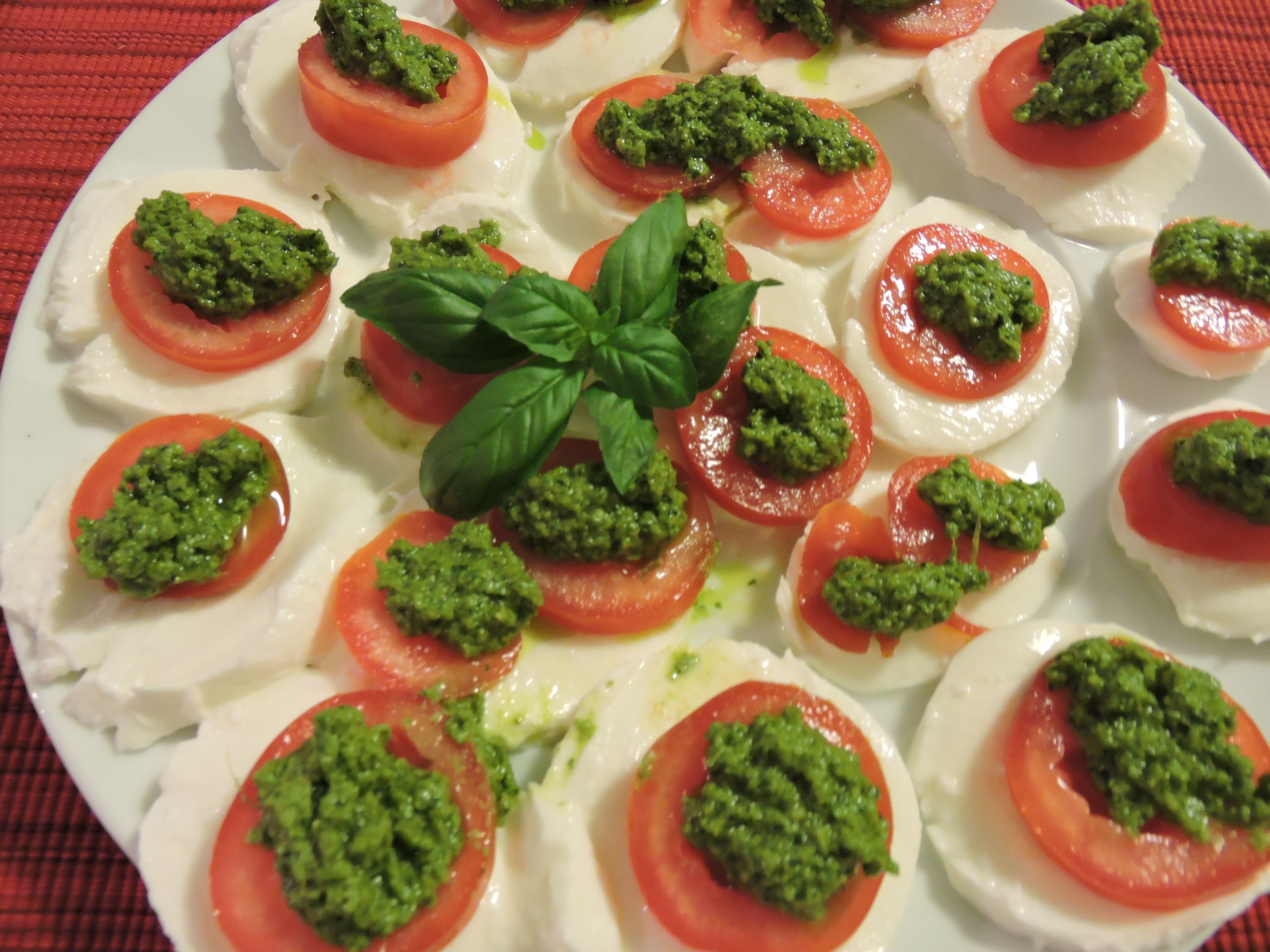 Caprese with a difference......home made pesto in place of simple basil