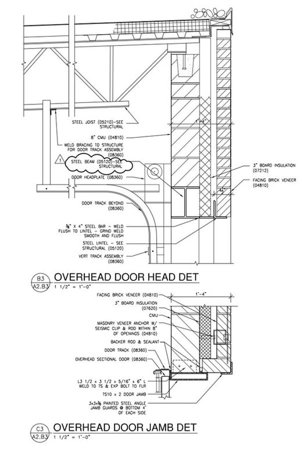 Overhead Door In Masonry Elevations And Sections In 2019